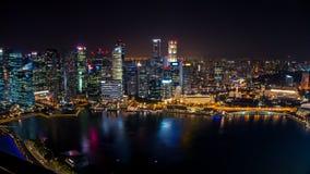 Scape города ночи Сингапура, залив Марины Стоковое Фото
