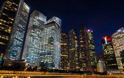 Scape города ночи Сингапура Стоковые Фотографии RF