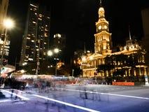 Scape города nighttime в Сиднее и свете Стоковые Фото