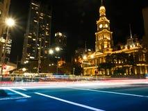 Scape города nighttime в Сиднее и свете Стоковая Фотография RF