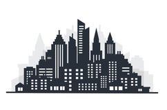Scape земли силуэта города река ландшафта kremlin города отраженное ночой Городской ландшафт с высокими небоскребами Правительств Стоковое Изображение RF