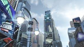 Scape da cidade em Time Square New York Manhattan rendição 3d Fotos de Stock Royalty Free