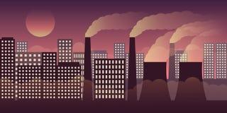 Scape da cidade na noite com poluição pela indústria e pela poluição atmosférica ilustração royalty free