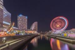 Scape da noite no beira-mar de Yokohama Minato Mirai imagem de stock royalty free