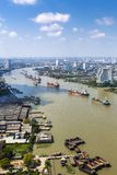 Scape de la ciudad del río de Chao Praya Fotografía de archivo libre de regalías