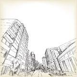 Scape de la ciudad en Tokio, ejemplo del vector del dibujo de bosquejo stock de ilustración