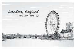 Scape de la ciudad que dibuja el ojo y el puente, río, ejemplo de Londres ilustración del vector