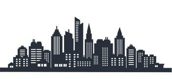 Scape de la tierra de la silueta de la ciudad Paisaje de la ciudad Paisaje céntrico con los altos rascacielos Gobierno de la arqu libre illustration