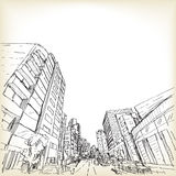 Scape de ville à Tokyo, illustration de vecteur de dessin de croquis illustration stock