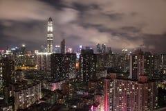 Scape de ville de nuit de Shenzhen Photo libre de droits