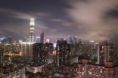 Scape de ville de nuit de Shenzhen Photographie stock