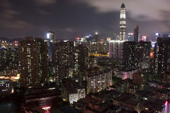 Scape de ville de nuit de Shenzhen Photos libres de droits
