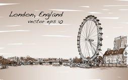 Scape de ville dessinant l'oeil de Londres et le pont, rivière dans le ton de sépia Photographie stock