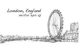 Scape de ville dessinant l'oeil de Londres et le pont, rivière, illustration Photos stock