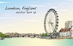 Scape de ville dessinant l'oeil de Londres et le pont, rivière, illustration Photographie stock