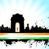 Scape de ville indienne sur le fond tricolore Photo stock