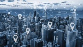 Scape de ville de ton et connexion réseau bleus Images stock