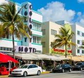 Scape della città di Miami Beach all'azionamento dell'oceano Fotografia Stock Libera da Diritti