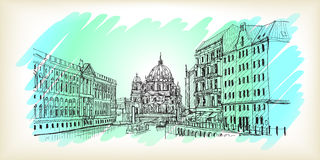 Scape della città in Germania Berlin Cathedral Vecchia costruzione disegnata a mano Fotografia Stock