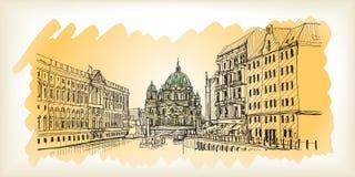 Scape della città in Germania Berlin Cathedral Vecchia costruzione disegnata a mano Immagini Stock Libere da Diritti