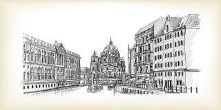 Scape della città in Germania Berlin Cathedral Vecchia costruzione disegnata a mano Fotografie Stock Libere da Diritti