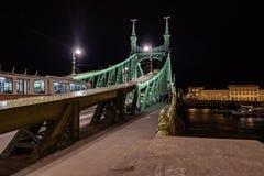 Scape scenico di notte del ponte di Budapest il Danubio e di libertà in lampadina Natura, paesaggio urbano immagini stock