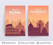 Scapes célèbres de ville de Roma et de Florence illustration de vecteur