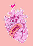 Scar. Human heart with band-aid. Lady sunbathing on it. Hand drawn illustration digitally colored Royalty Free Stock Photography
