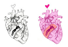 Scar. Human heart with band-aid. Lady sunbathing on it. Hand drawn illustration digitally colored. On the left side black and white drawing. On the right side Royalty Free Stock Photo