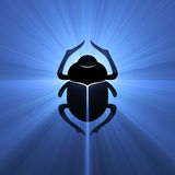 Scarab beetle Egyptian symbol light flare Stock Photography