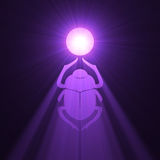 Scarab beetle Egyptian symbol sun flare Royalty Free Stock Photo
