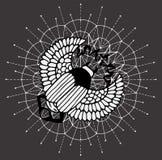 Scarab beetle on white sacred geometry pattern Stock Illustration