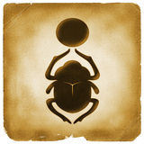 Scarab bettle Egyptian symbol old paper Royalty Free Stock Photos