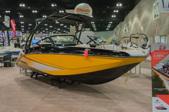 Scarab 215 boat on display Stock Images