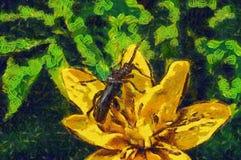 Scarabeo della pittura a olio su uno stile di Vincent del fiore Immagini Stock