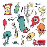 Scarabocchi casuali e disegni degli oggetti e delle creature Fotografia Stock