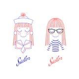 Scarabocchi dei fronti svegli della ragazza con capelli, il cappello del marinaio ed il collare lunghi Immagini Stock Libere da Diritti
