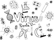 Scarabocchi del virus Immagini Stock