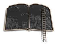 Scarabocchi della città sul balckboard di forma del libro Immagine Stock