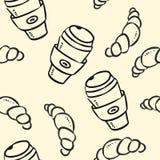 Scarabocchi della tazza e del croissant di caffè sul modello senza cuciture del fondo pastello illustrazione di stock