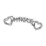 Scarabocchi delle manette sotto forma di cuore con la parola MATRIMONIO Fotografie Stock