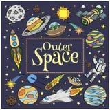 Scarabocchi dello spazio cosmico, simboli ed elementi di progettazione illustrazione vettoriale