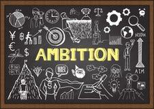 Scarabocchi di affari sulla lavagna con il concetto di ambizione Immagini Stock Libere da Diritti