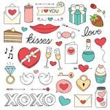 Scarabocchi di amore di giorno del ` s del biglietto di S. Valentino Immagine Stock