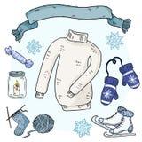 Scarabocchi di inverno fissati Autoadesivi svegli del hygge Raccolta degli oggetti accoglienti di inverno Maglione, sciarpa, mitt illustrazione di stock