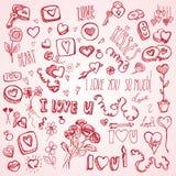 Scarabocchi di rosa per il San Valentino Immagine Stock Libera da Diritti