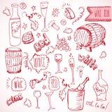 Scarabocchi di schizzo e dell'annata del vino Fotografia Stock