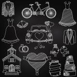 Scarabocchi di tema di nozze di stile della lavagna Immagini Stock