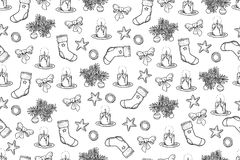 Scarabocchi di tema di natale disegnato a mano di vettore su fondo bianco - Immagine Stock