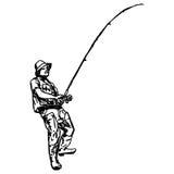 Scarabocchi di tiraggio della mano di vettore dell'illustrazione del pescatore Immagine Stock